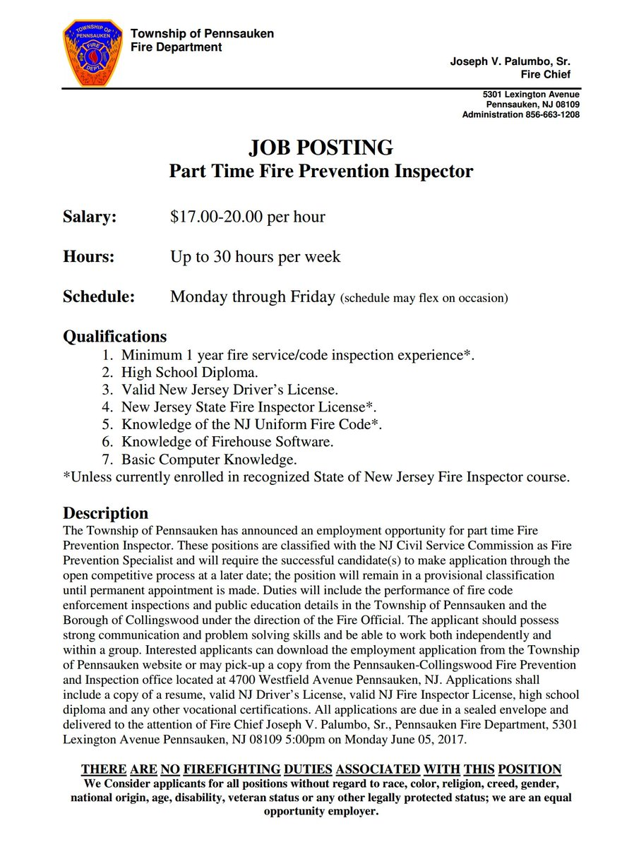 Job posting for part-time fire inspector